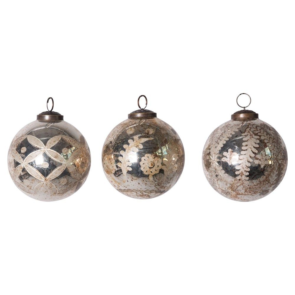 etched mercury glass ball ornament