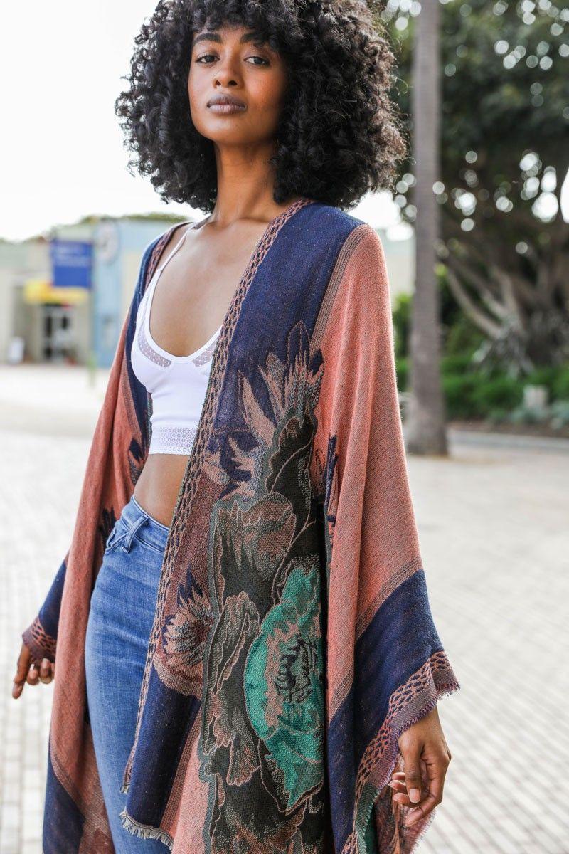 rose woven colorblock ruana