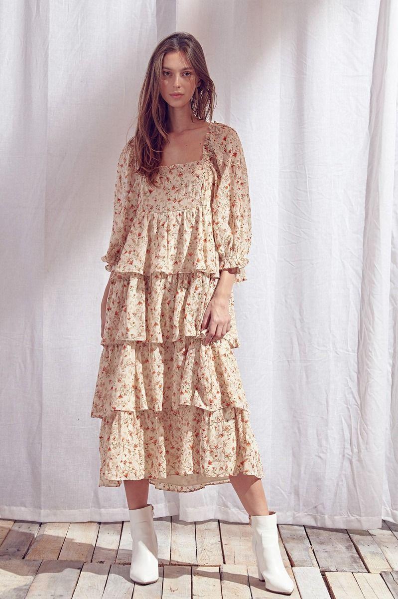 hanley ruffled midi dress