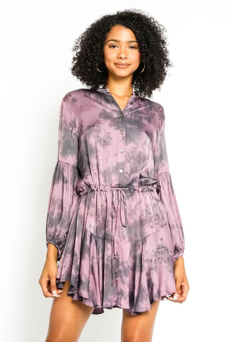 purple tie dye satin dress