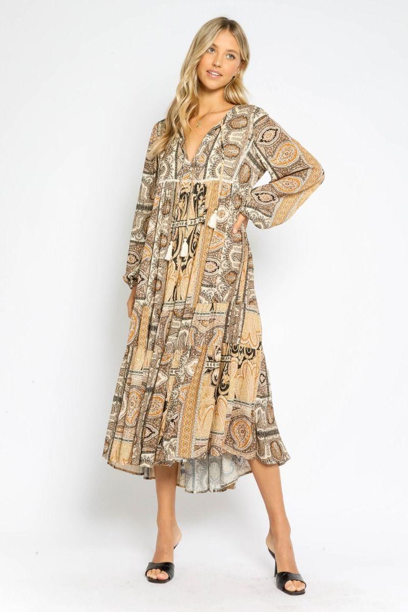 golden tapestry maxi dress