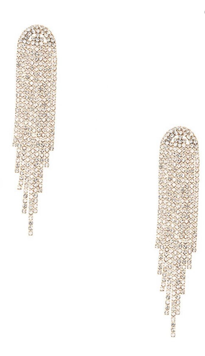 Drop Fringe Rhinestone Dangle Earrings