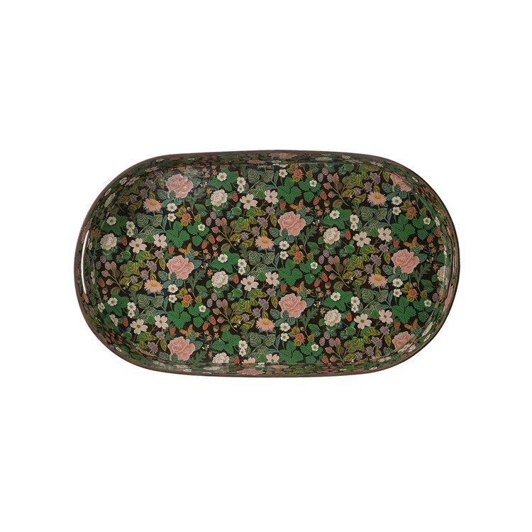 floral metal tray