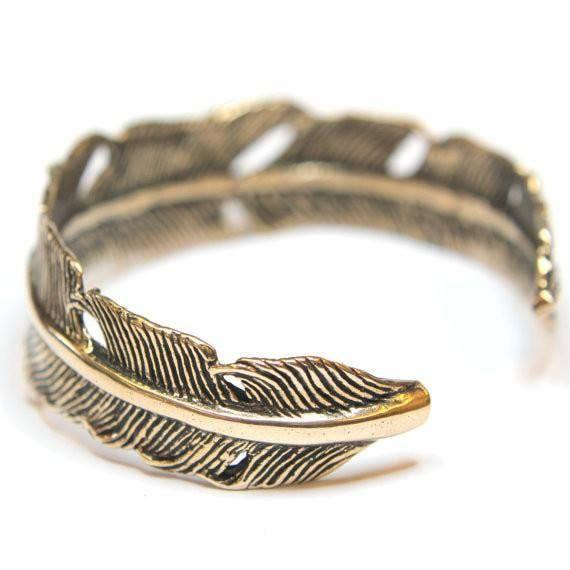 bronze feather cuff bracelet