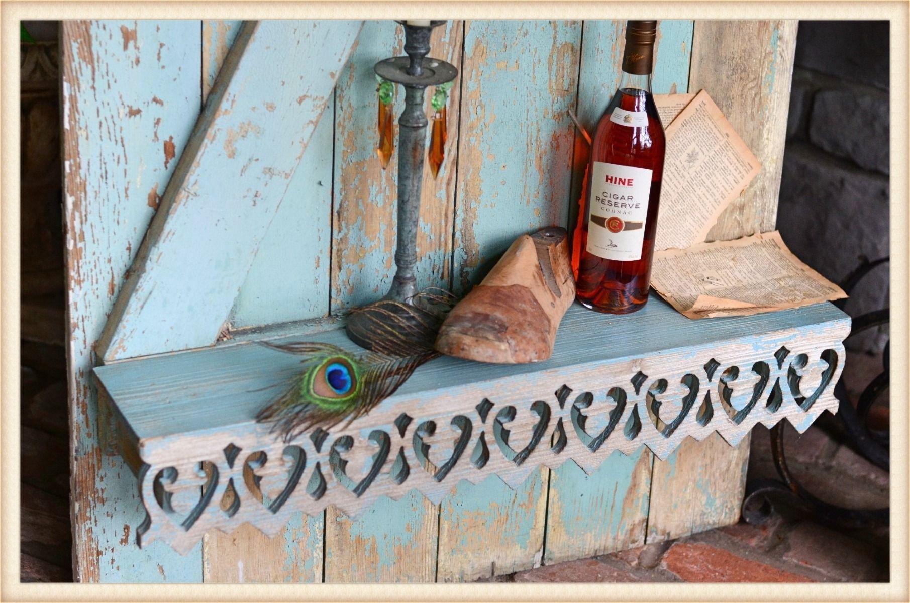 peacock scrollwork shelf