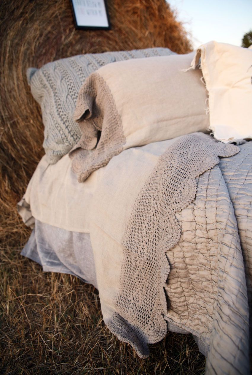 the lucinda crochet linen sheet set- wheat
