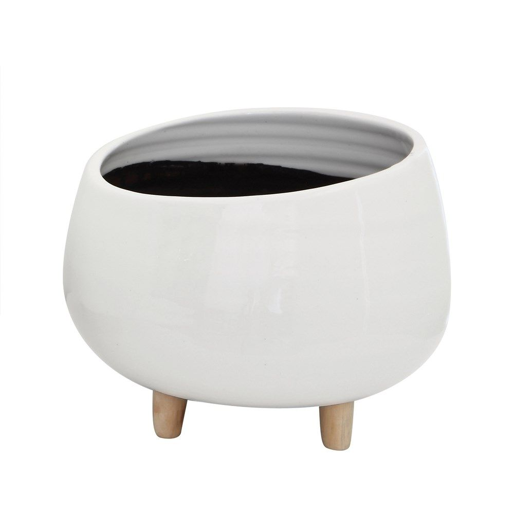 white round ceramic planter