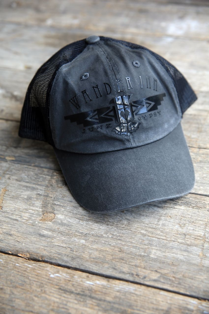 wander inn trucker cap- black