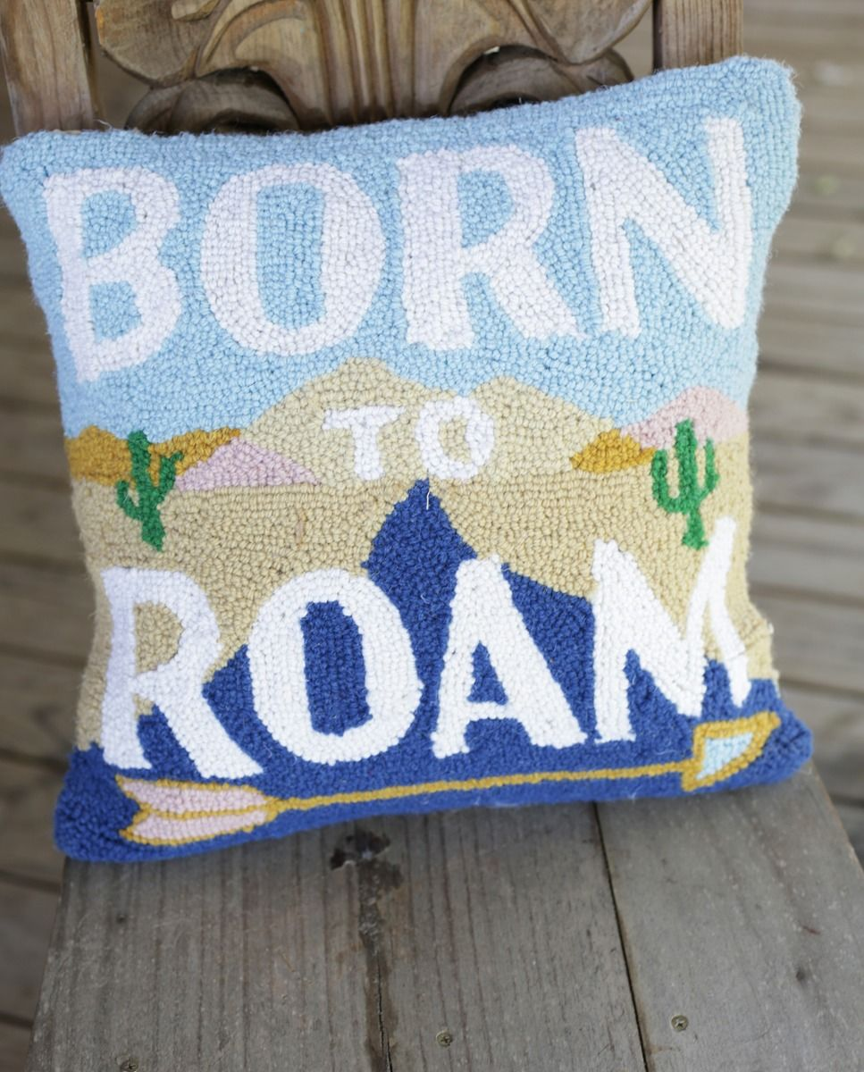 born to roam hooked pillow