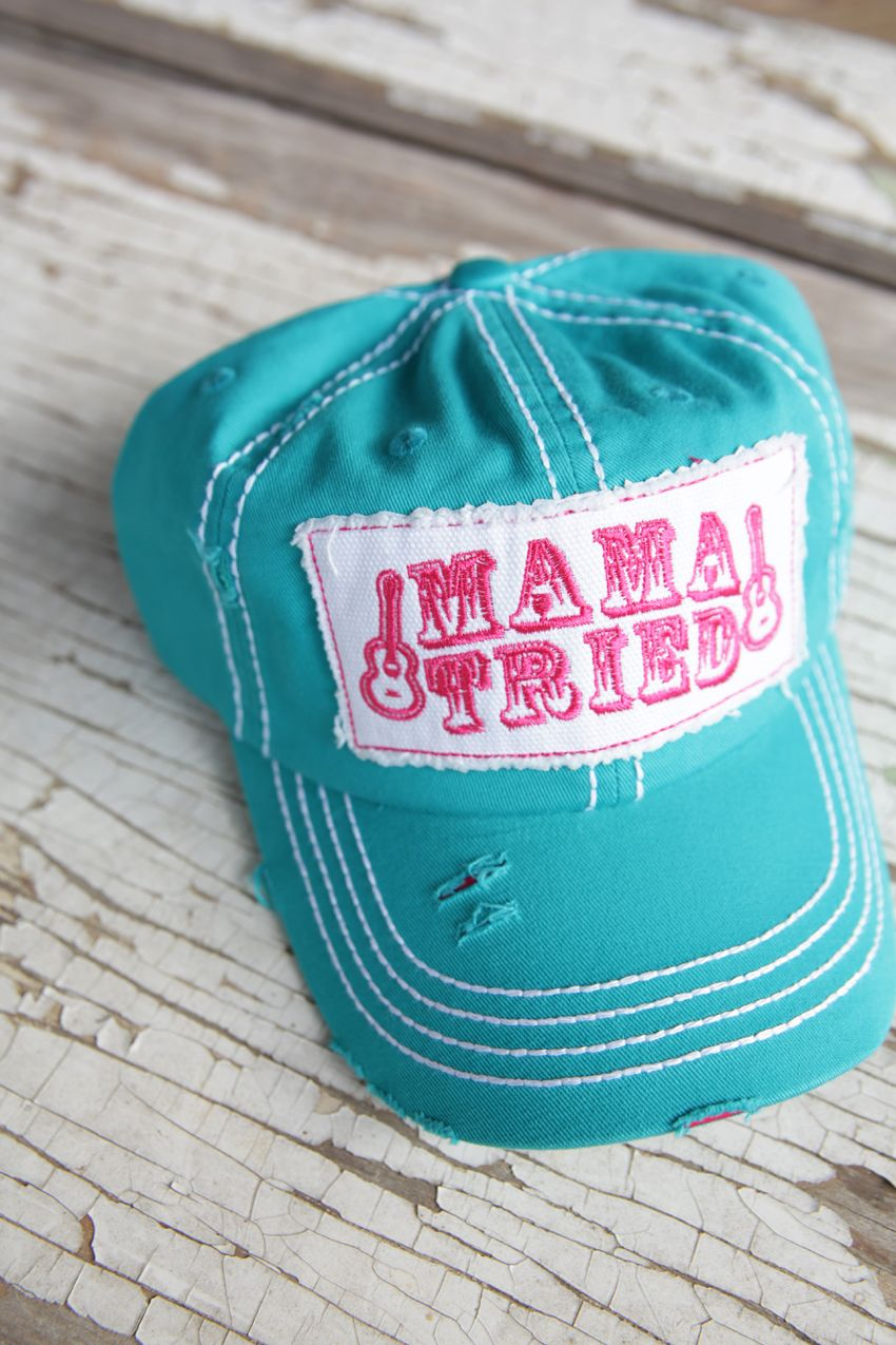 mama tried trucker cap TURQUOISE