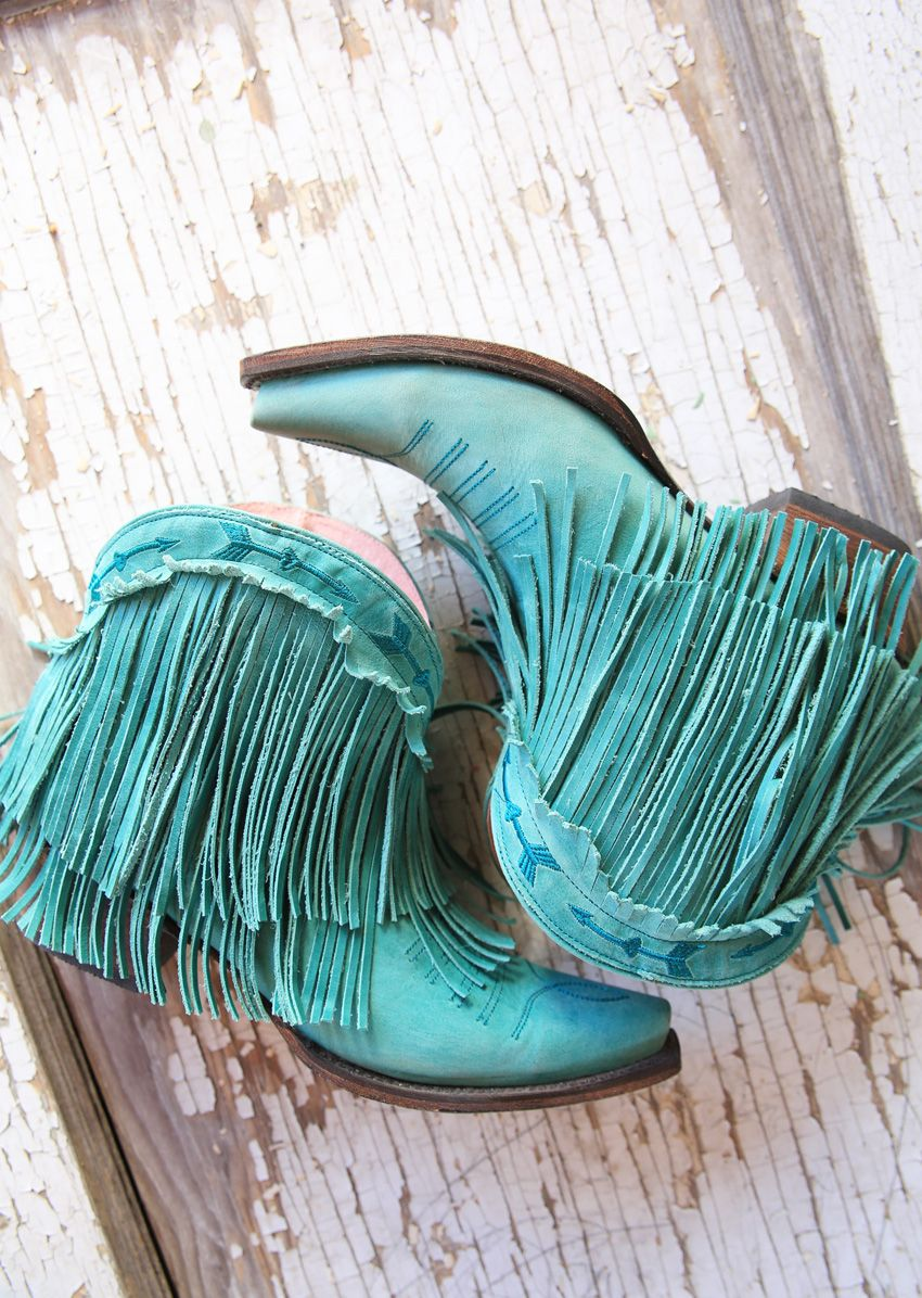 the spitfire fringe boot - turquoise