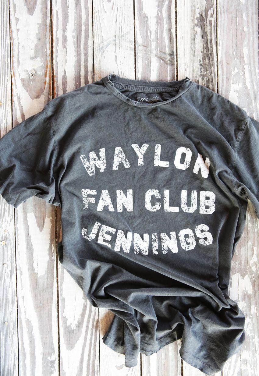 waylon jennings fan club tee- vintage black