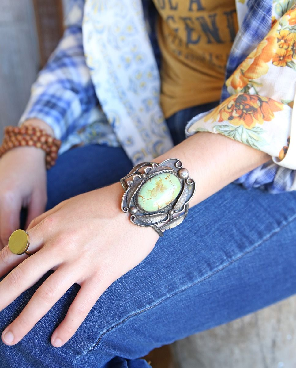vintage cuff with large turquoise & feathers