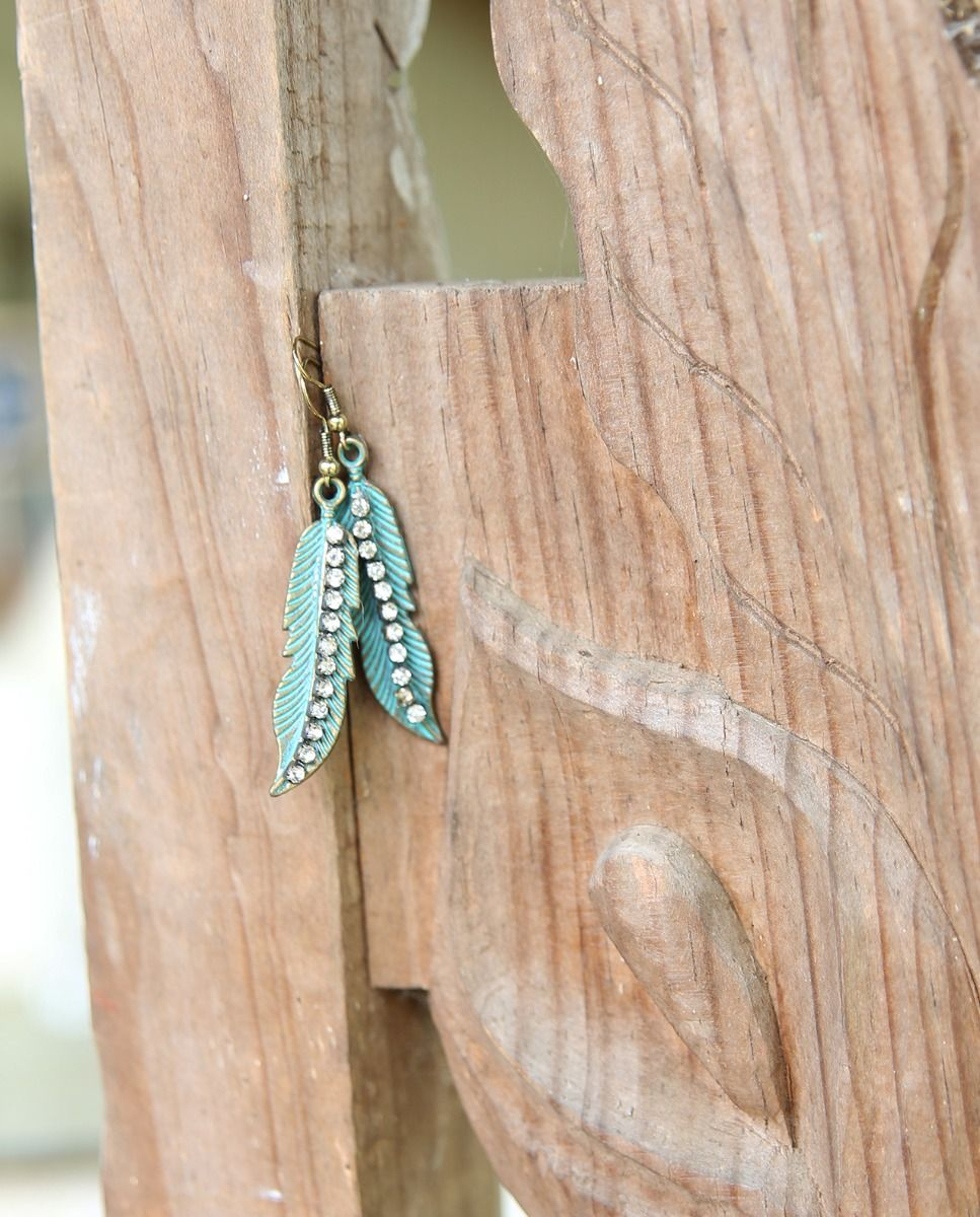 small crystal feather earrings