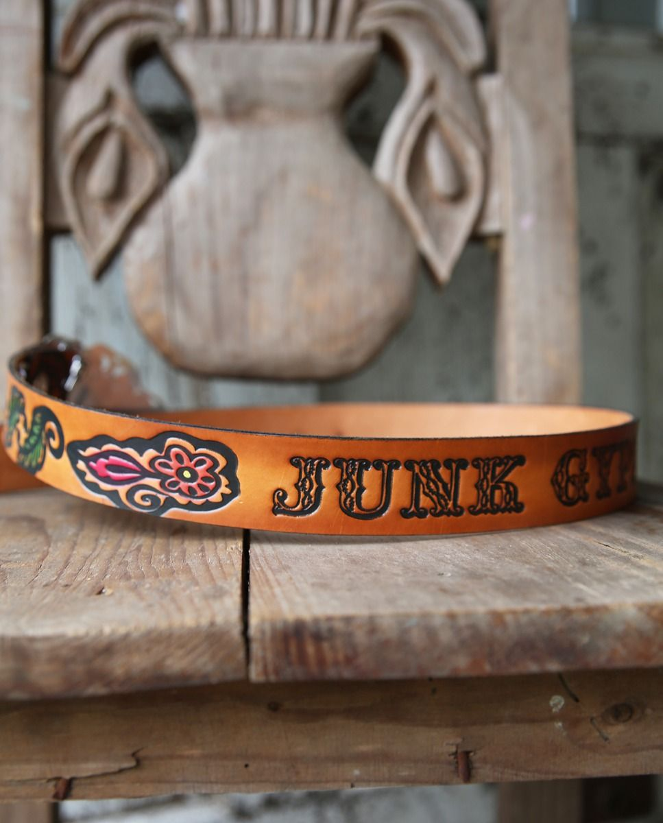 jg tooled leather belt