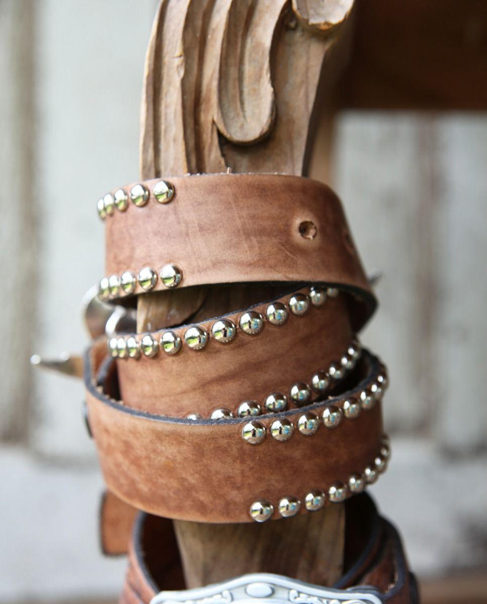 silver stud leather belt