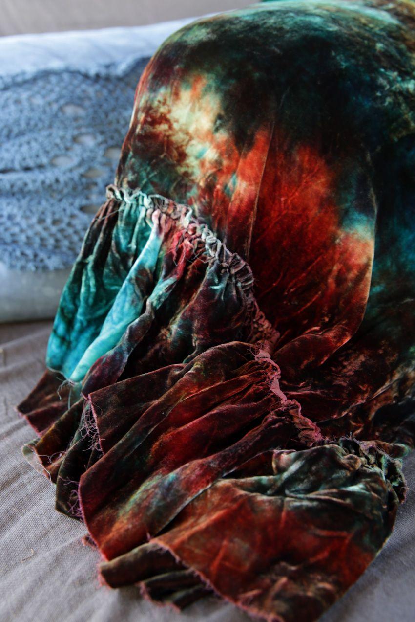 Gypsy Dreams tie-dye velvet ruffle sham