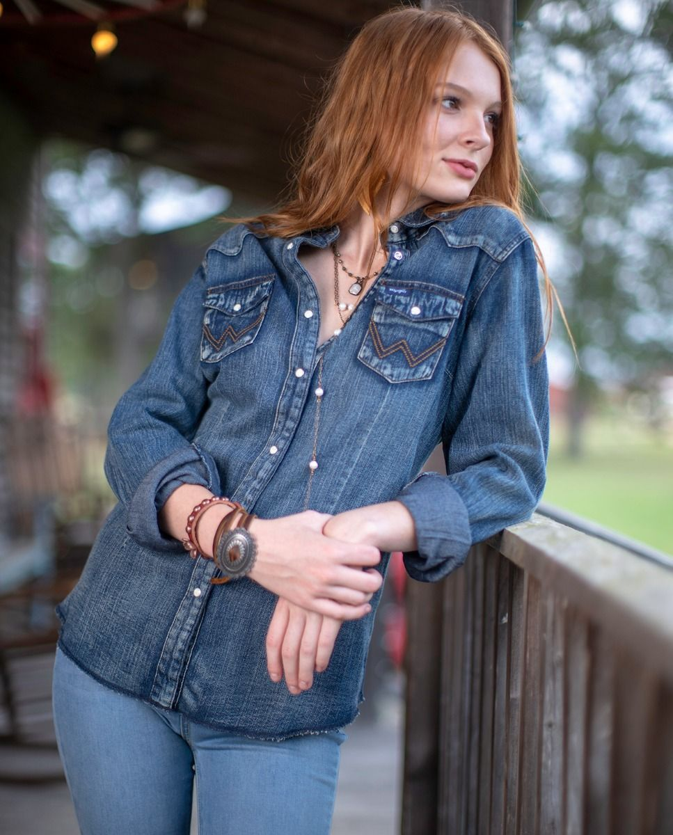 back at the ranch wrangler denim shirt