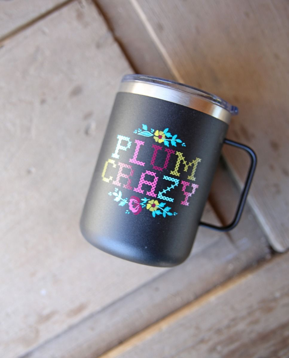 plum crazy camper mug
