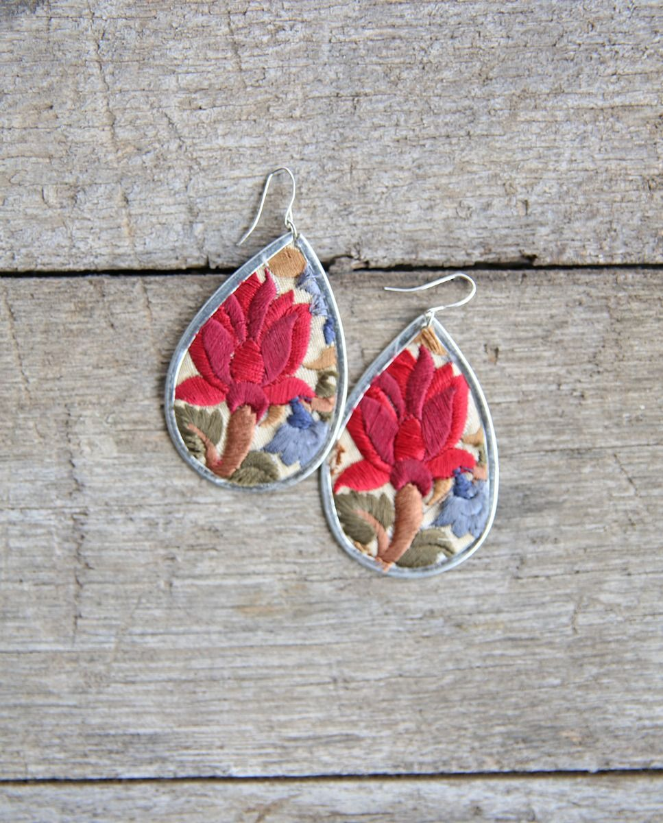 wildflower floral embroidered earring
