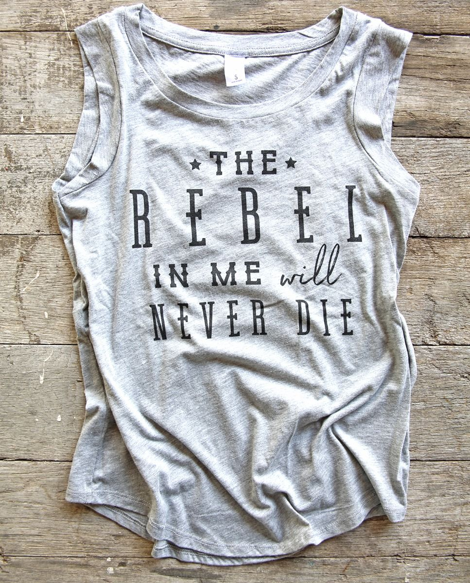 the rebel in me grey muscle tank