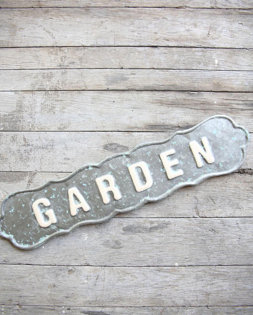 scalloped tin garden sign
