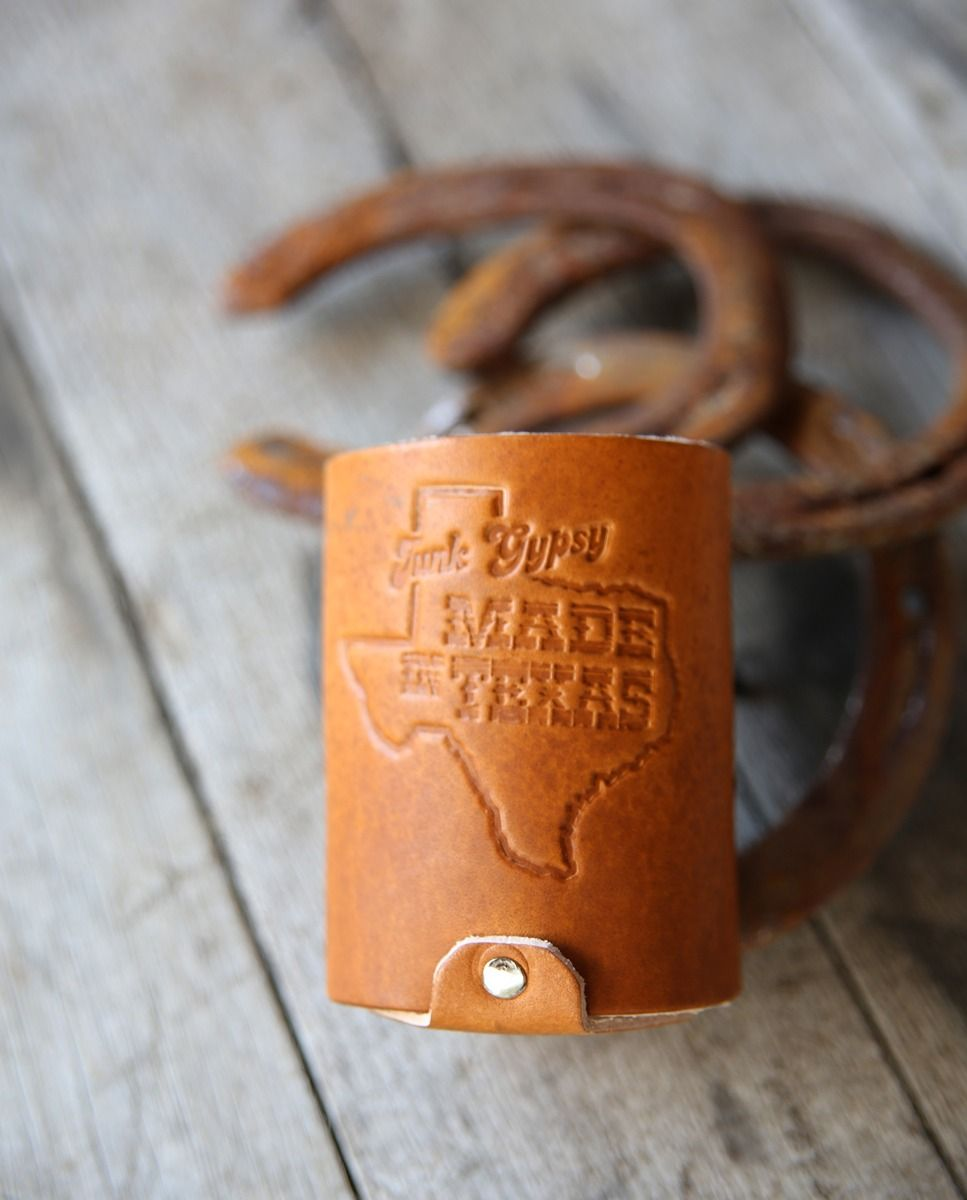 made in texas leather can cooler