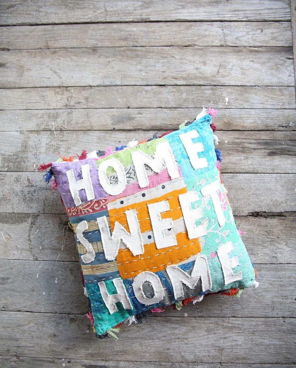 home sweet home kantha pillow