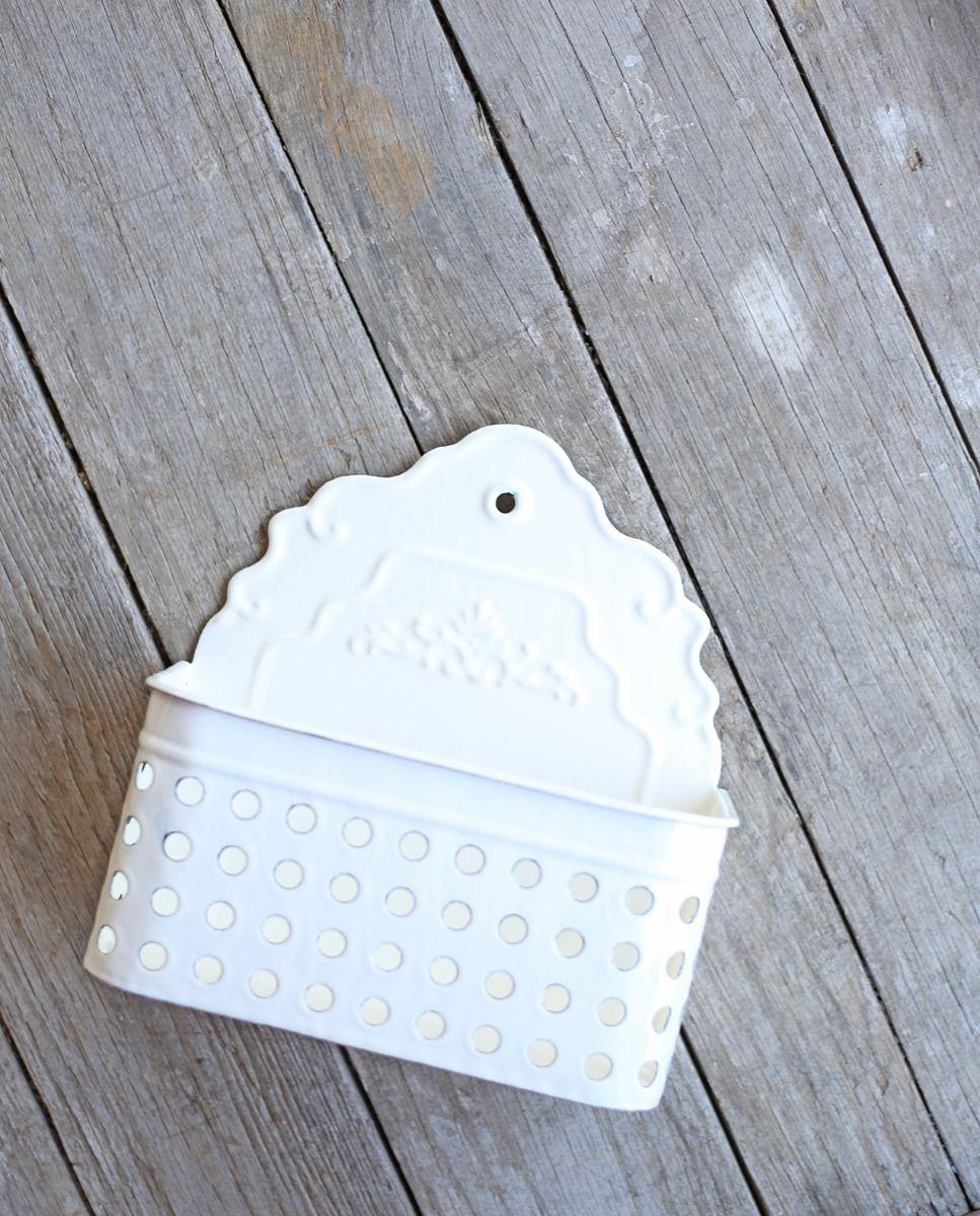 cream enameled wall basket