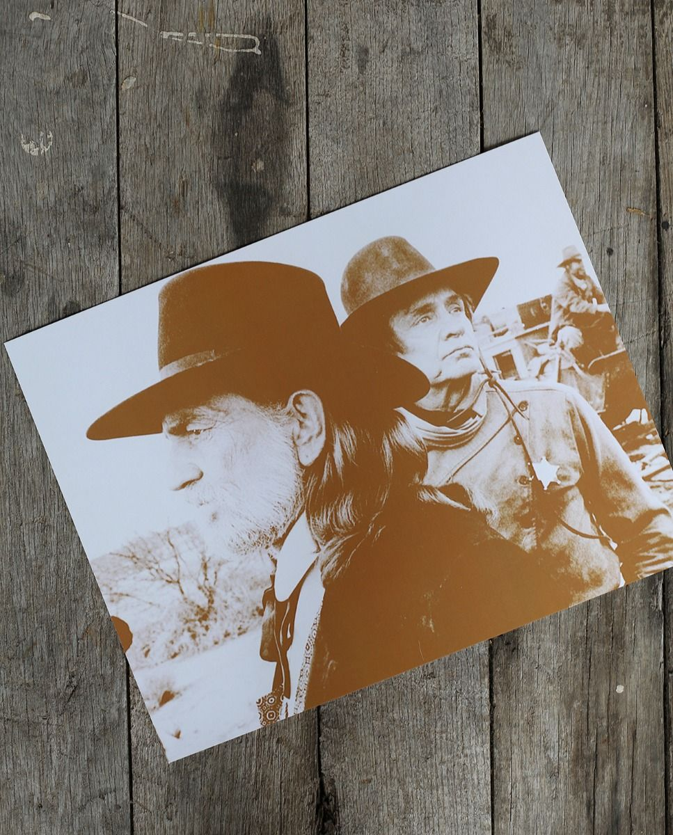 willie & cash - sepia print - poster or postcard