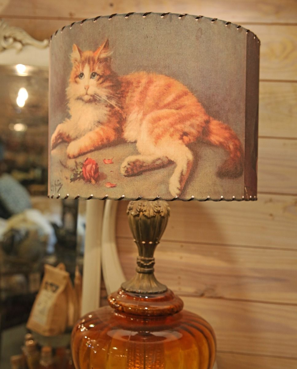 tabby cat lampshade