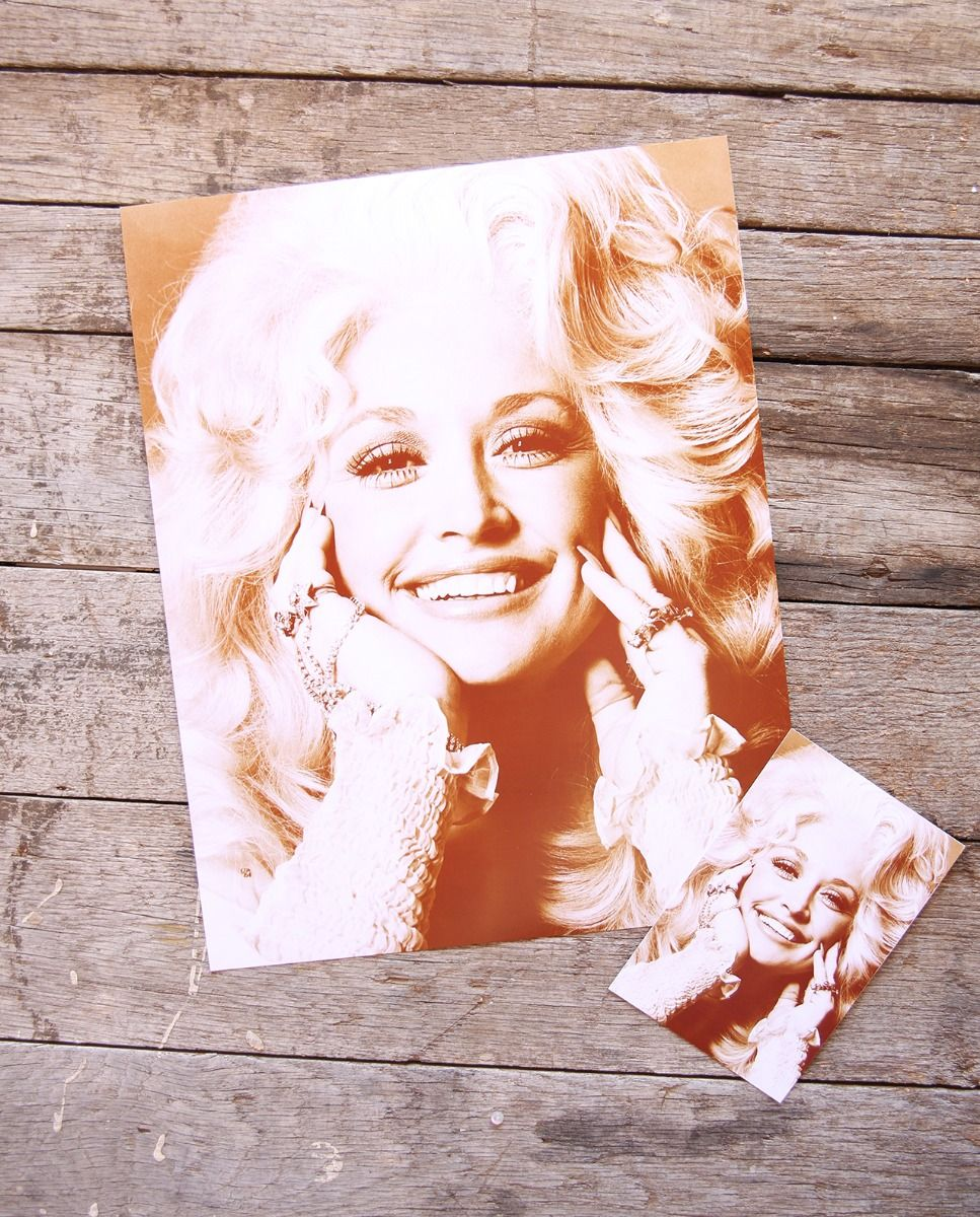 rhinestone dolly sepia print -- available as a poster or postcard!