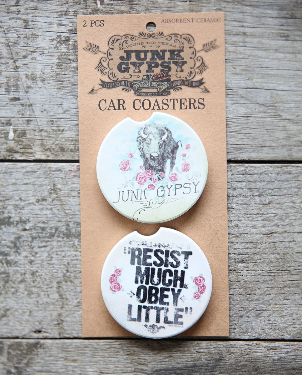 Buffalo Roses/Resist Much, Obey Little Car Coaster Set