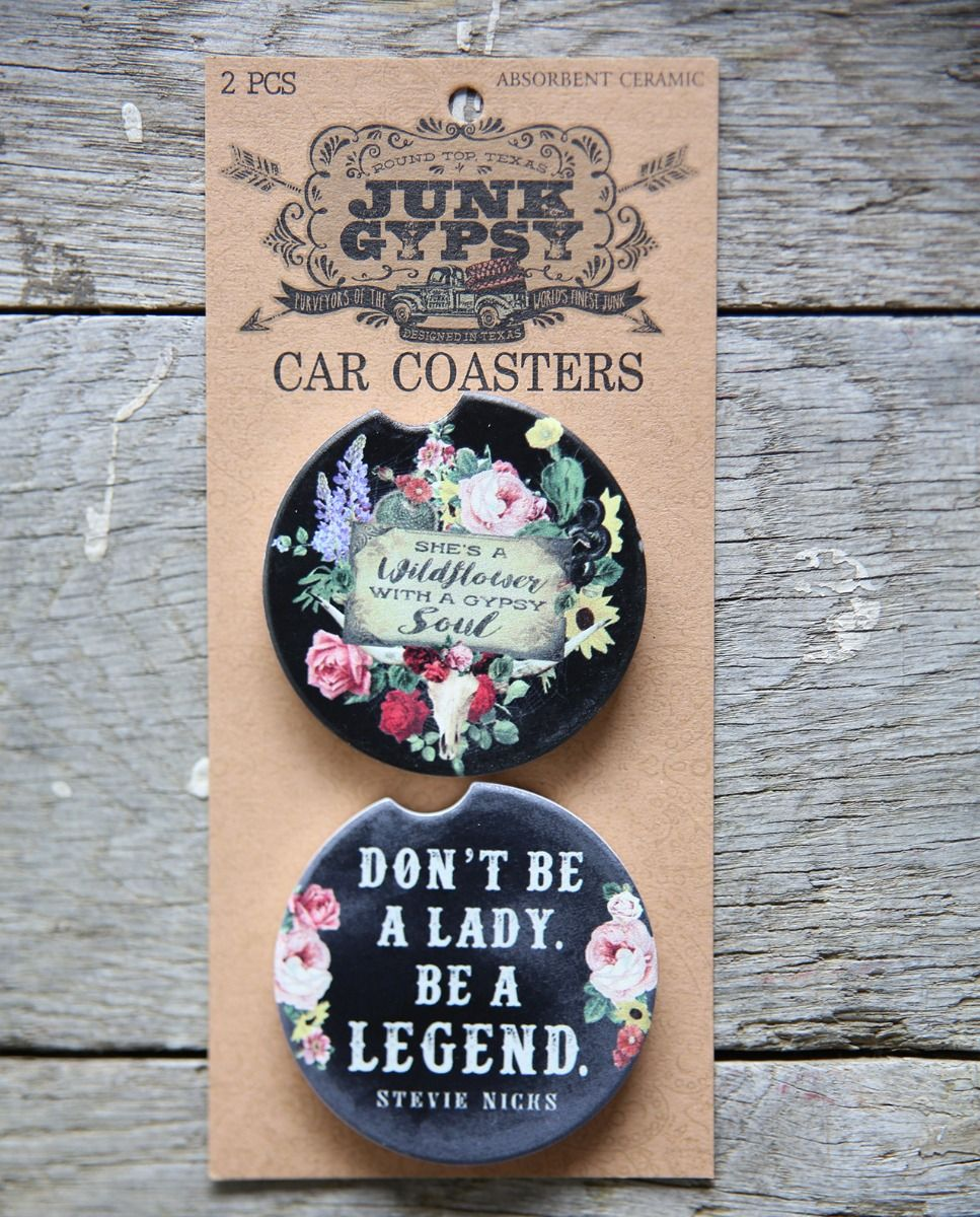 Be a Wildflower/Don't be a Lady, Be a Legend car coaster set
