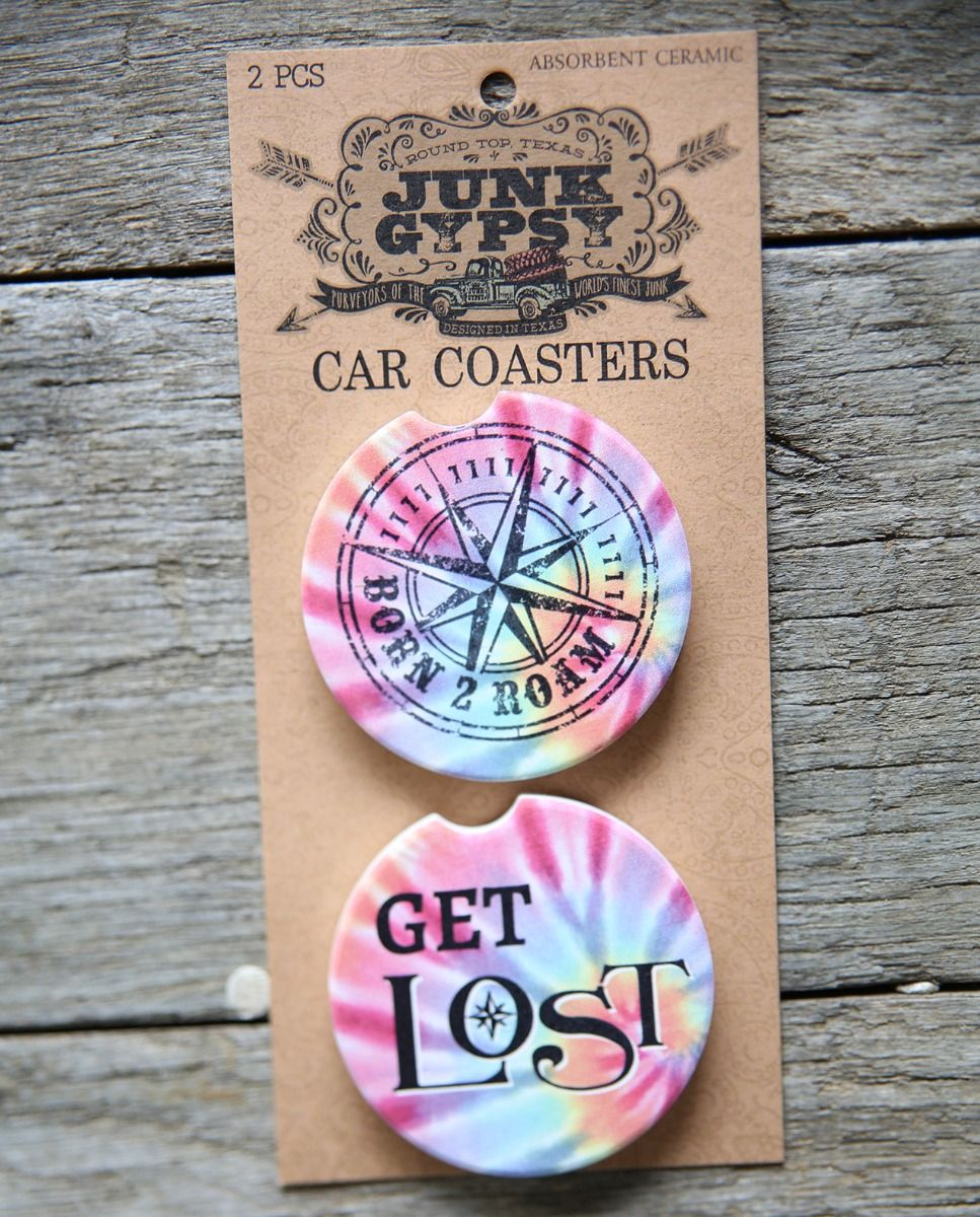 Born 2 Roam/Get Lost Car Coaster Set