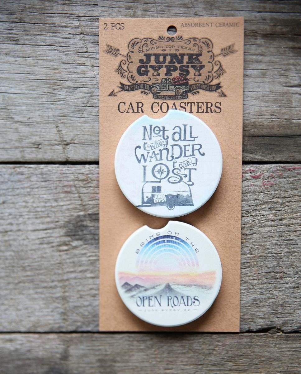 Not all who wander/Open Roads car coaster set