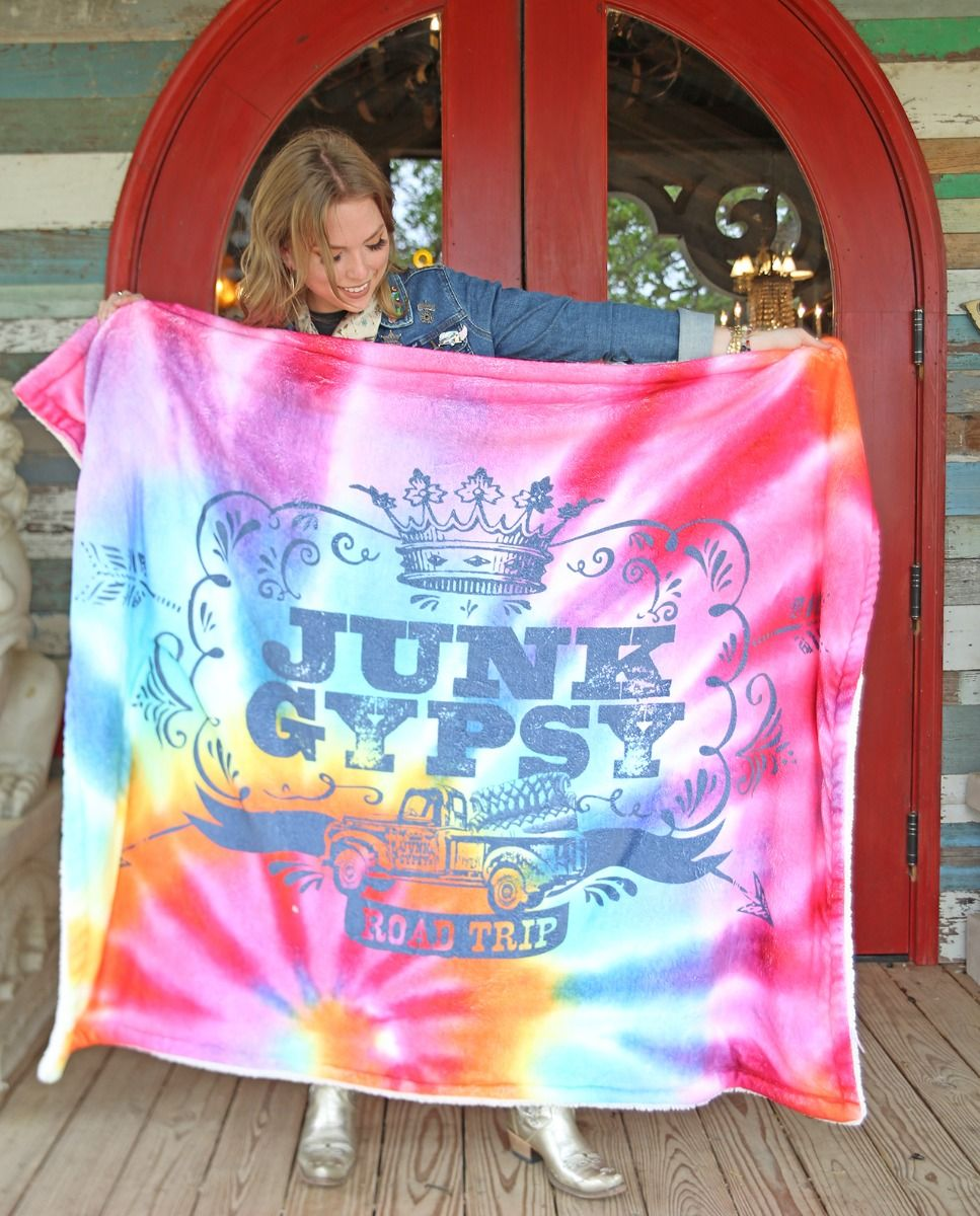JG Road Trip Tie Dye Sherpa Throw