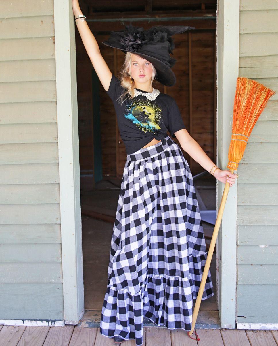 checkered flared maxi skirt