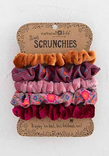 Orange Skinny Printed and Velvet Scrunchies