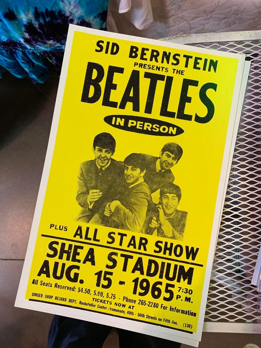 the beatles - shea stadium - poster & postcard