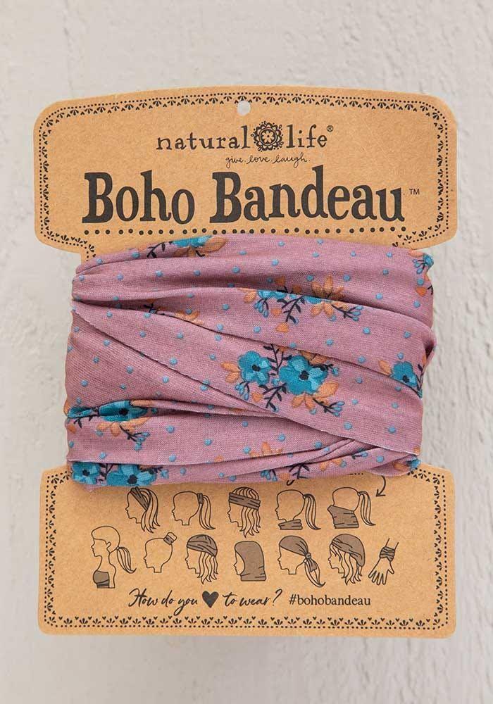 boho bandeau mauve/turquoise floral