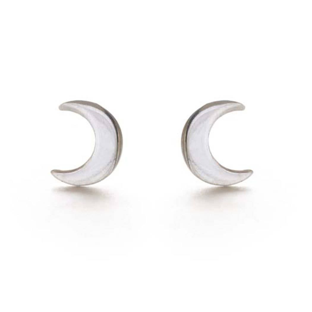 Sterling Silver Crescent Moon Studs