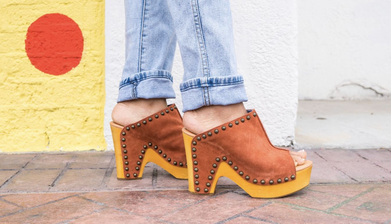 peace n' love leather clog -- available in multiple colors