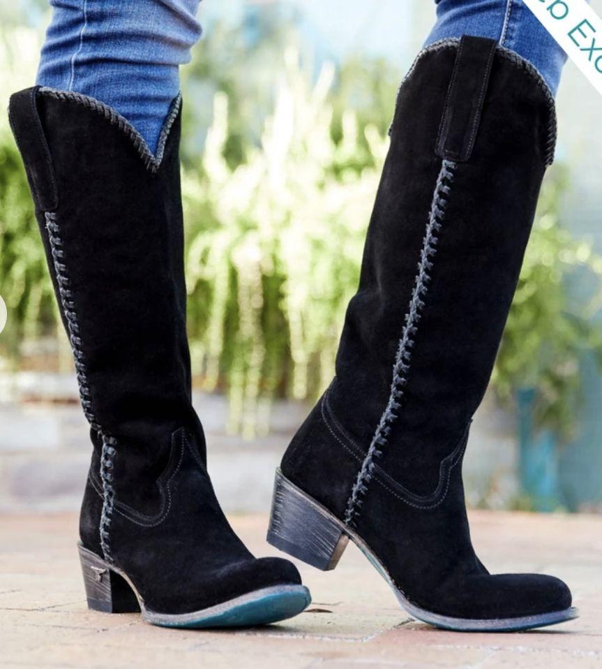 plain jane suede boot - black