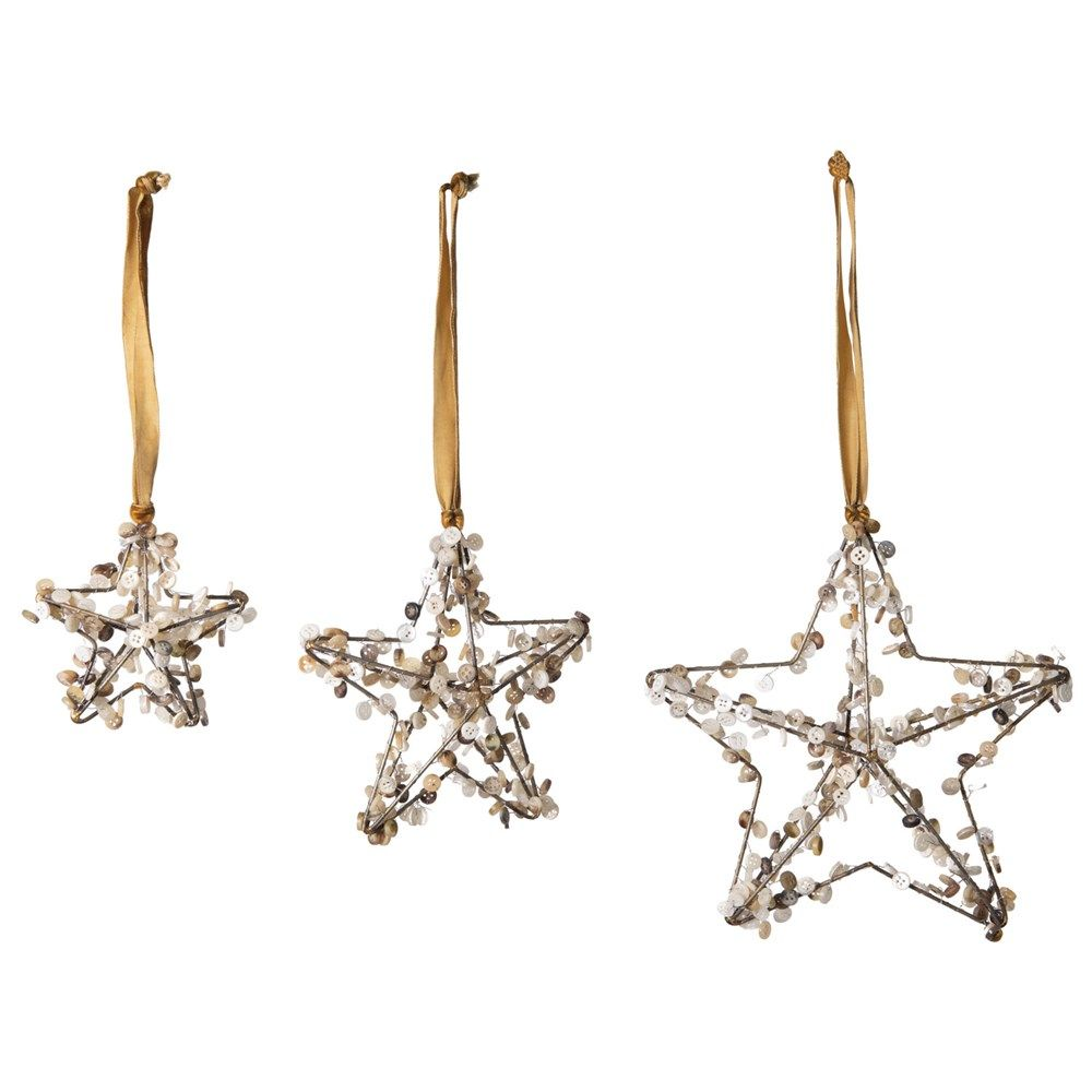 metal star ornament with button
