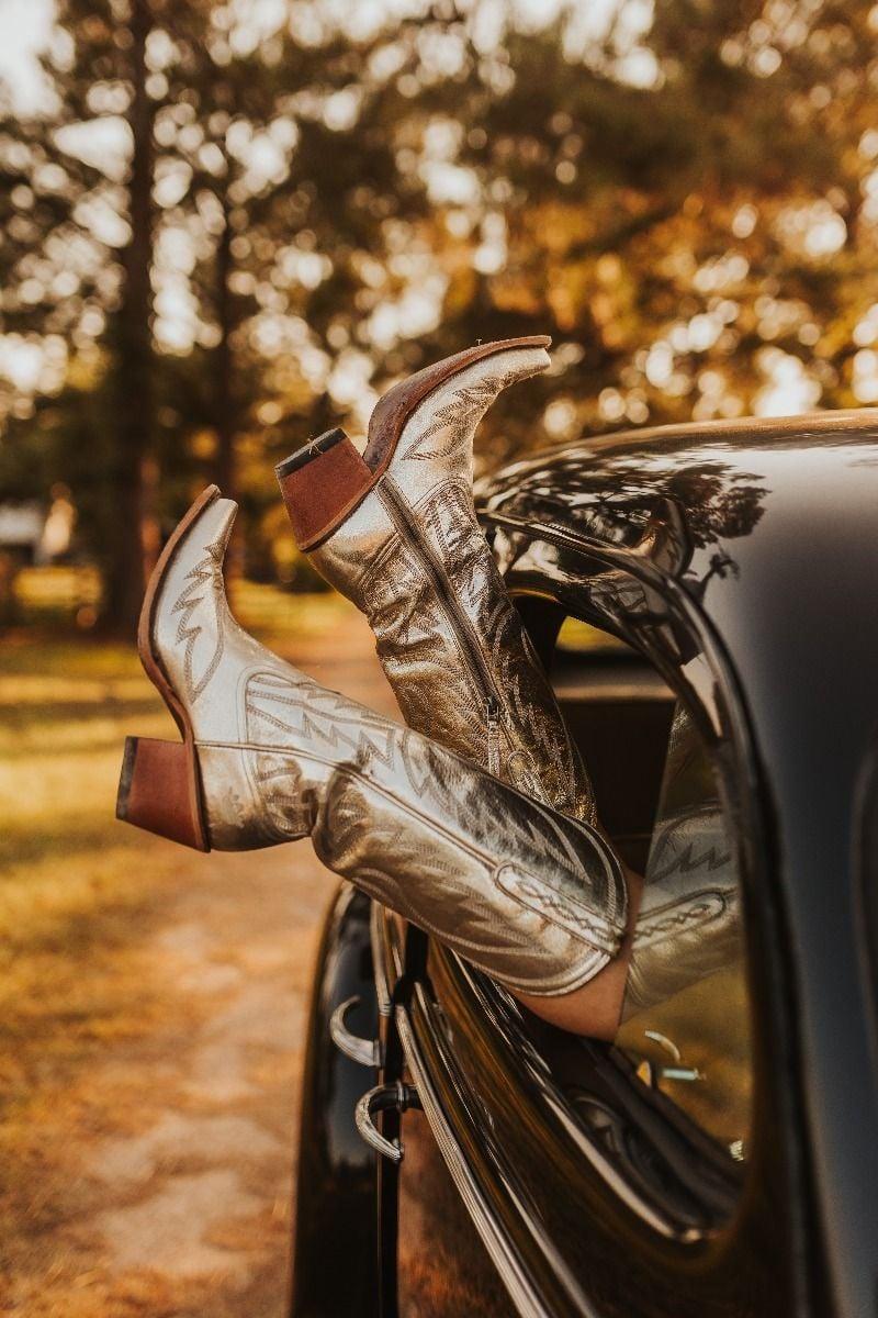 nighthawk boot- metallic champagne