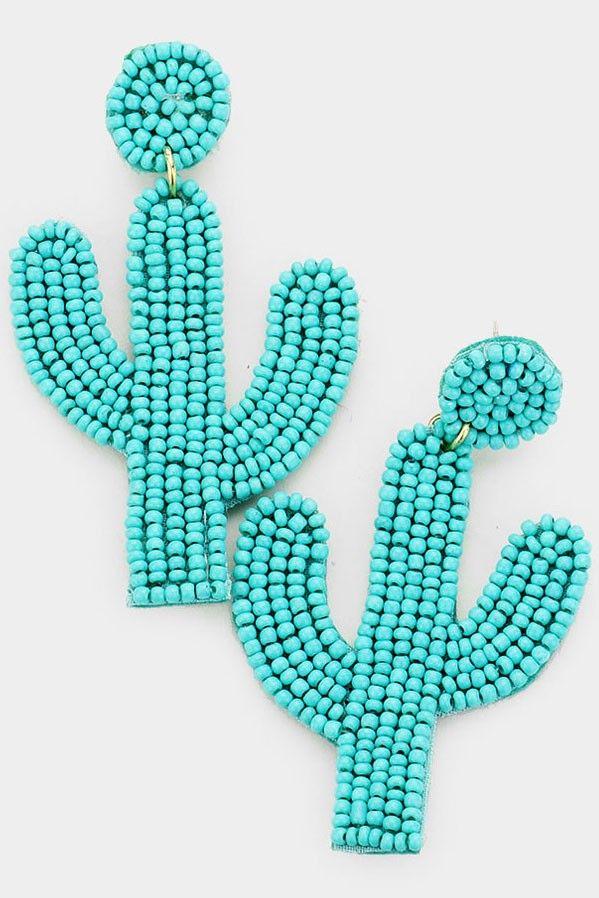 beaded cactus drop earrings
