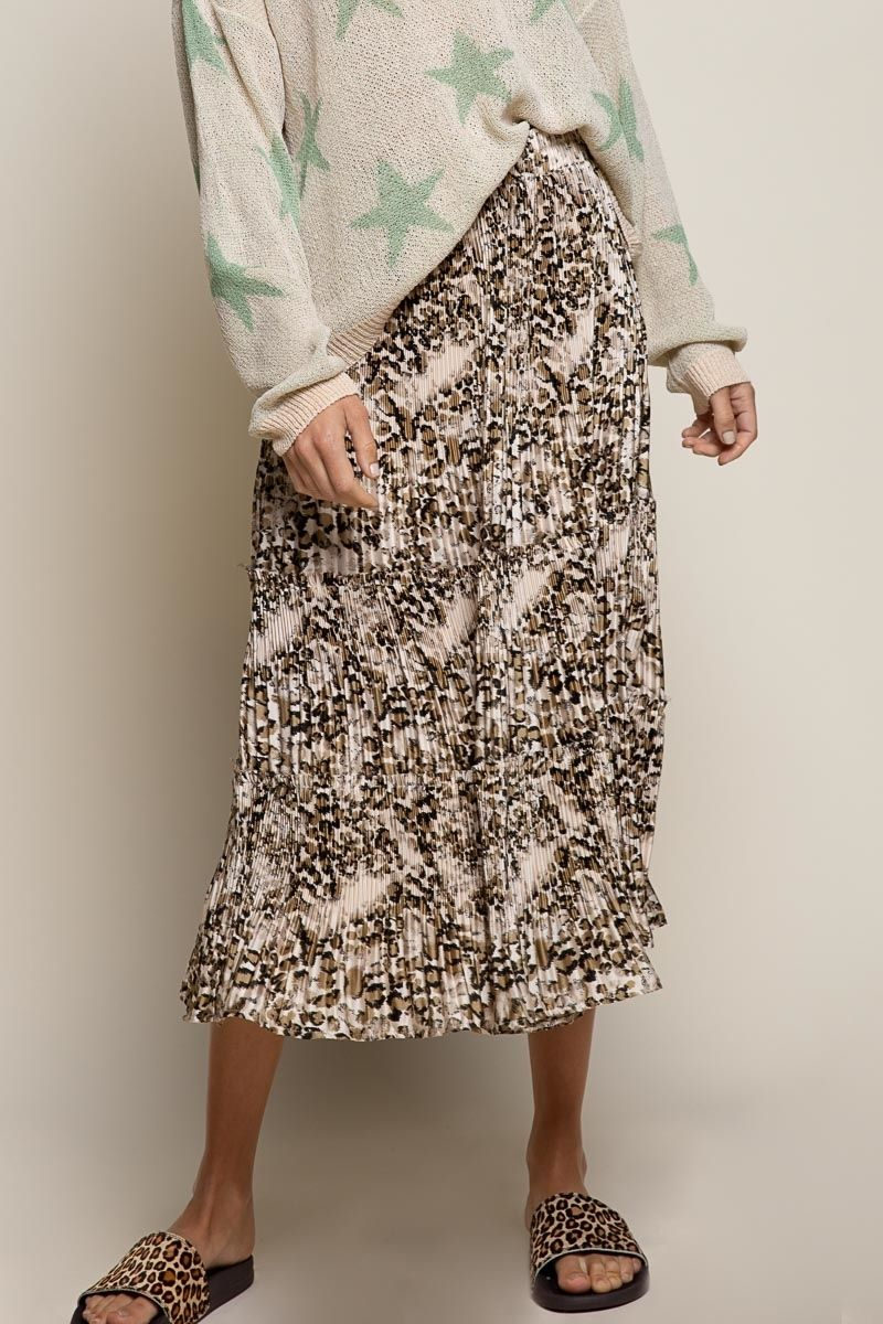 champagne leopard woven skirt