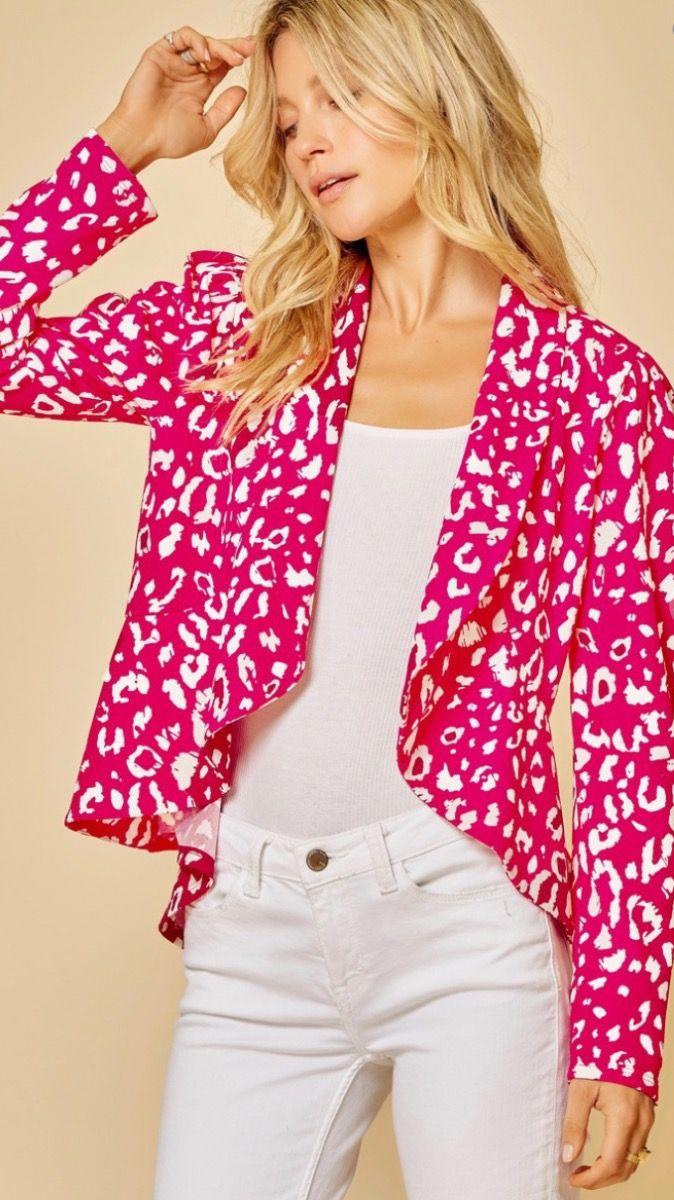 leopard peplum blazer