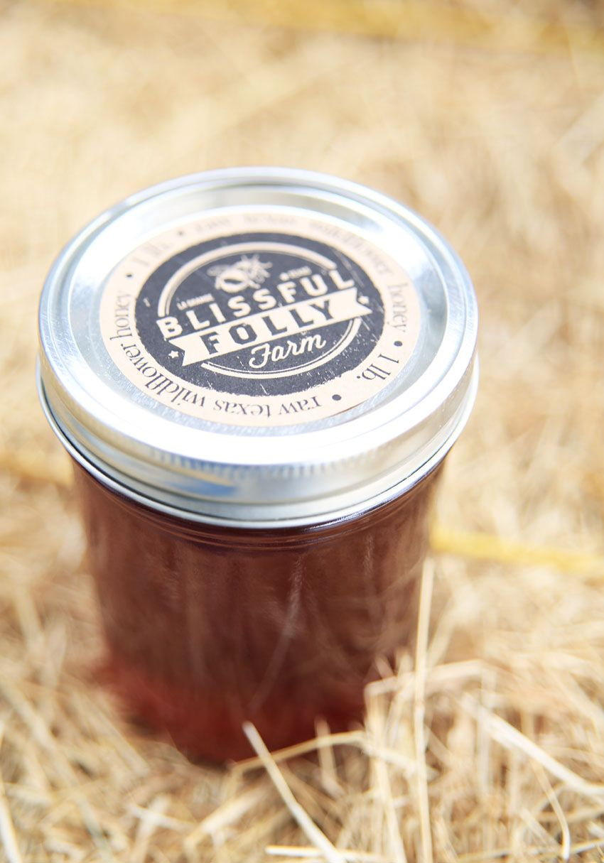 blissful folly homegrown texas honey - 1 lb mason jar honey